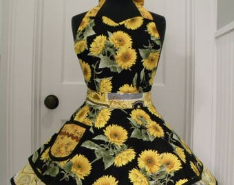 Womens Apron-Honey Bees and Sunflowers- Flouce Apron