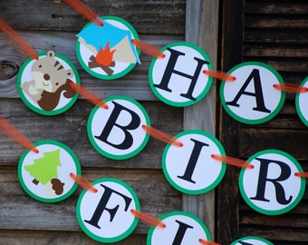 Camping Birthday Banner, Camping  Birthday Party, Camping Theme
