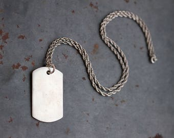Sterling Silver Dog Tag Necklace - Blank Military Tag on Chain