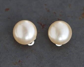 Pearl Earrings - Vintage Clip On Sterling Silver