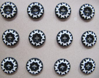 Art Deco 1930's buttons, 24 small vintage black & white casein button, quality galalith plastic buttons made in Germany, 15mm buttons unused