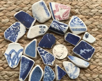 Sea Pottery from Scotland, Picture Pottery, Jewelry Making, Various Patterned Blue & White for Pendants, Charms, Earrings, Craft or Mosaics