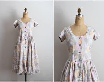 80s Day Dress / 1980s Summer dress / Sweetheart Dress / Floral Dress /Vintage Sundress / Size S/M