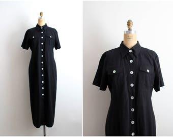 80s Minimalist Black Dress / Linen Maxi Dress / Black Linen Shirt Dress / 1980s Maxi Dress / Size M/L