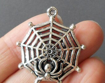 "2pcs-1.25"" Spider web with skull charm-Antique Silver tone spider web charm pendant"