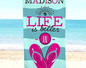 Life Is Better In Flip Flops Personalized Beach Towel, beach, pool, summer, microfiber, polyester, custom, girls -gfyU1157733