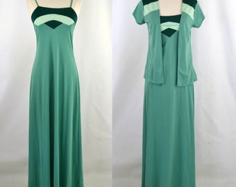 1970s Green Three Tone Spaghetti Strap Dress and Matching Bolero