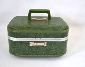 1970s Avocado Green Hard Shell Case Train Case  by JCPenney, Carry-On, Storage
