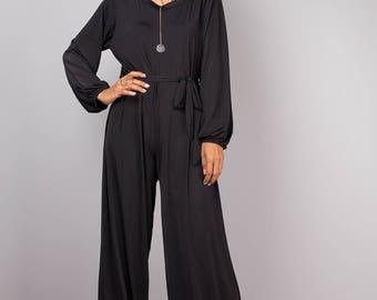 Black jumpsuit, black jumper, pants suit dress, modest jumpsuit, long sleeved jumpsuit, woman black jumpsuit, black romper