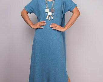 Blue dress, a line dress, mid length blue dress, short sleeved dress, blue tube dress, blue maxi dress, split dress