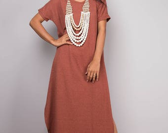 Orange dress, a line dress, mid length orange dress, short sleeved dress, rusty orange tube dress, orange maxi dress, split dress