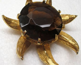 Vintage 60s ROGER VAN S Large Sunflower Brooch Pin