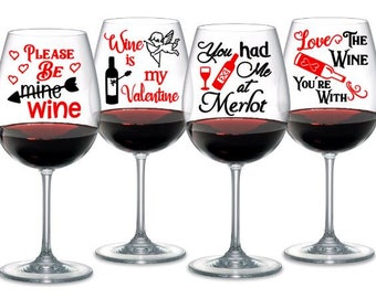 valentine wine glass sayings set of 4 digital cutting files instant download