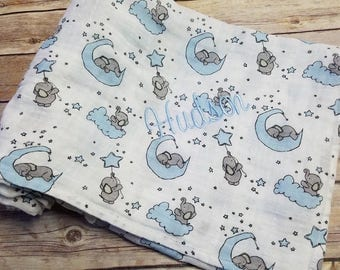 Personalized Baby Swaddle Blanket Floral Fields Elephants and stars blue Muslin Double Gauze 45x45 inches Navy and Teal