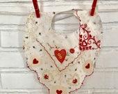 Valentine's Day Handkerchief Baby Bib Hearts and Flowers Hanky Bib for Baby