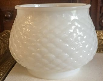 E O Brody Milk Glass Fishscale Bowl or Vase