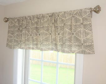 Curtain Valance Topper Window Treatment 52x15 Heni Grey Natural Ivory Modern Boho Chic Valance Home Decor by HomeLiving