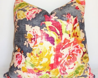AS SEEN on The BACHELOR Grey Peach Pink Rose Floral Pillow Cover Decorative Home Decor Size 20x20 22x22