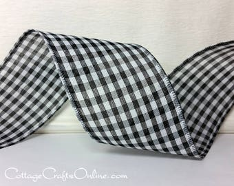"Wired Ribbon, 2 1/2"" Black and White Check Gingham Plaid - THREE YARDS - ""Great Gingham 3 Black"" Wire Edged Ribbon"