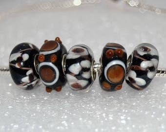 Brown and Black with a Touch of White  Murano Glass Beads  5 PC Set for European  Charm Bracelets European Style Charm by WhitePineBeads