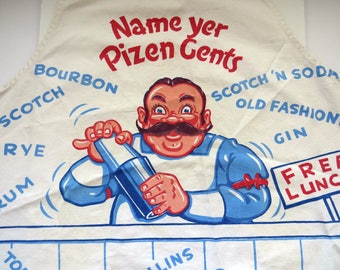 Vintage Mens Barware Bib Apron - Name Yer Pizen Gents Bartender - Cocktails Martinis - Pour It Stir It Shake It - Novelty Fathers Day Gift