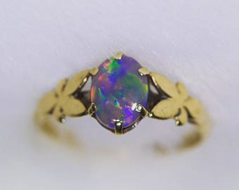 Vintage 9ct Gold Butterfly Ring with Solid Opal