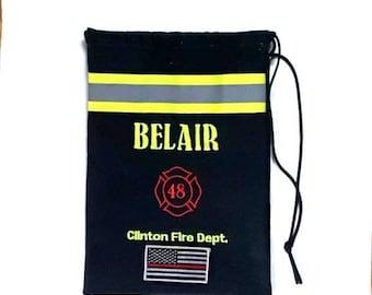 Like Bunker Gear Black Firefighter Bag ~ SCBA mask bag ~ Firefighter Gift