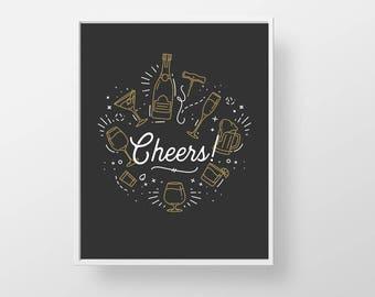 Cheers Bar Cart Print - bartender print wall decor art - dark modern minimal retro liquor cocktail alcohol beer brewery quote sign poster