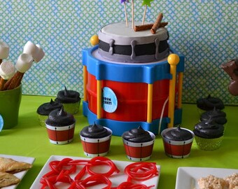 Jammin' Party Drum Cupcake Wrap File