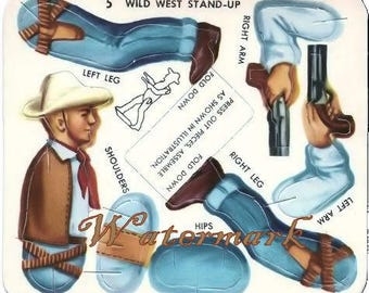 Vintage Circus Wild West Cowboy Toy Cut out Digital Download Printable Image for DIY