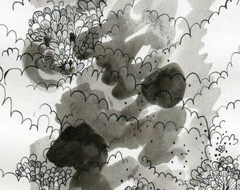Original abstract art. Original Drawing. Ink Painting Original. Abstract black and white painting. Small abstract painting