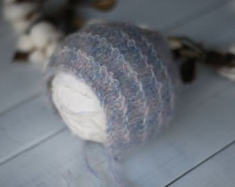 new born pink and blue mohair bonnet,new born mohair bonnet,pastel mohair bonnet