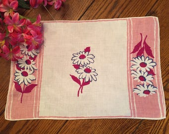 """Pink Floral Doily Place Mat Tray Liner Vintage Table Linens 11"""" x 16"""