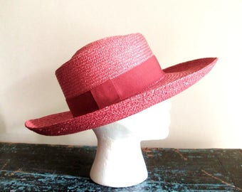 straw hat with wide brim, soft red, vintage 80s, garden hat, made in Italy for Nordstrom