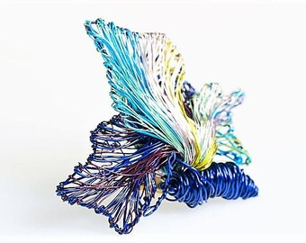 Butterfly brooch Blue yellow Wire sculpture art pin Coat brooch Anniversary gift for girfriend Insect pin Autumn gift Modern boho jewelry