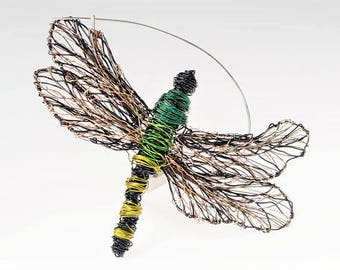 Dragonfly jewelry, dragonfly art, dragonfly brooch, wire sculpture, insect jewelry, large brooch, autumn, green jewelry, boho, womens gift