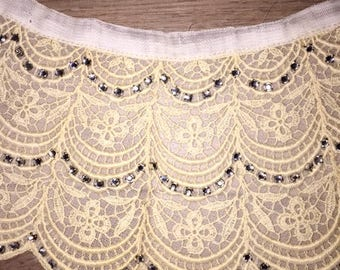 Antique Scalloped Lace Collar with Rhinestones