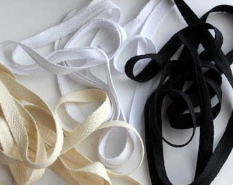 """3/8"""" Cotton Twill Tape - 5 yards - White, Black or Natural"""