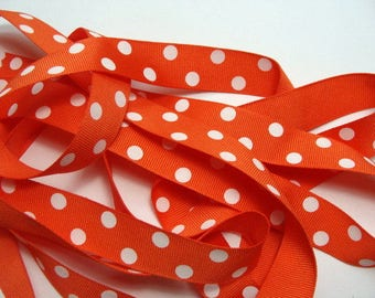 "CLEARANCE - 7/8"" Dotted Grosgrain Ribbon - Orange with White Dots - 50 yard Spool"