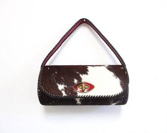 Vintage 1960s Pony Hair Handbag   Brown and White Red Lining 1960s Mod Bag