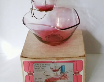 Vintage Indiana Glass Ruby Chip And Dip Salad Set  with Box