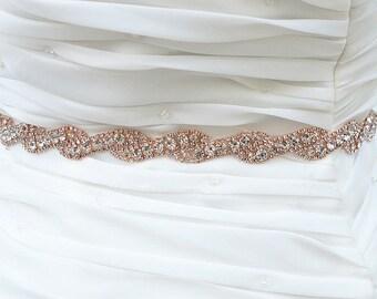 ROSE GOLD Wedding Belt, Bridal Belt, Sash Belt, Crystal Rhinestones sash belt, Party Sash,vintage sash belt