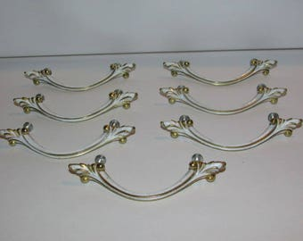 7 French Provincial Drawer Pulls, Vintage 1960s, White & Gold Furniture Hardware, Hollywood Regency, Dresser Handles, Shabby Country Cottage