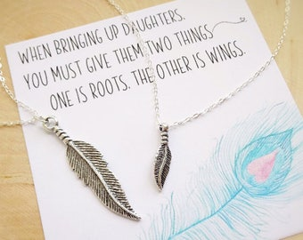 Mother Daughter Feather Necklace Set, Sterling silver matching necklaces, back to school, kindergarten, preschool gift, mom child, Otis B