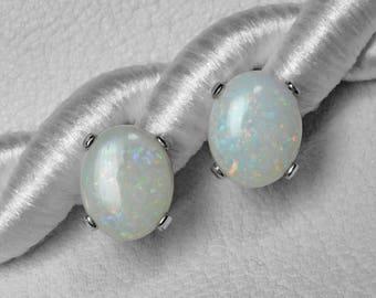 Australian Opal Stud Earrings in Silver or Gold, 10 x 8 mm