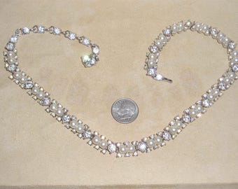 Vintage Signed Bogoff Rhodium Plated Rhinestone Necklace With Faux Pearls 1940's Jewelry 11196