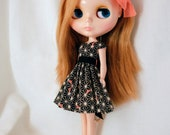 Asanoha dress for Blythe dolls - black/melon