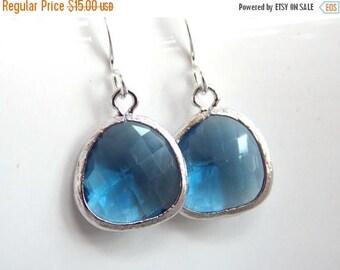 SALE Blue Earrings, Glass Earrings, Navy Blue, Dark Blue, Silver Earrings, Dainty, Petite, Bridesmaid Earrings, Bridal Earrings, Bridesmaid