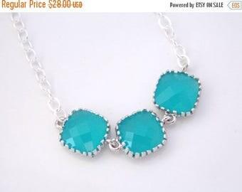 SALE Aqua Blue Necklace, Mint Necklace, Bridesmaid Jewelry, Sterling Silver, Aqua Necklace, Bridesmaid Necklace, Bridal Jewelry, Bridesmaid