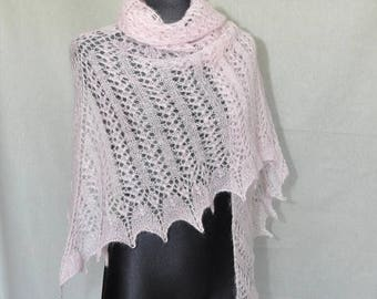 Christmas in July Sale Hand Knitted Bridal Shawl, Hand Knit Pink Shawl, Pink Lace, Bridal Lace Shawl, Pale Pink Scarf